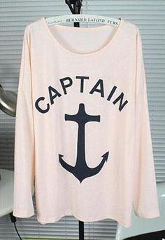 Big Anchor Print Shirt for Women