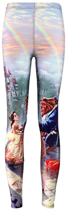 Custom Princess BELLE & BEAST Disney Films Fashion Womens Girls Spandex Clothing Fitness Beauty And The Beast Print Leggings by PurMePanties on Etsy