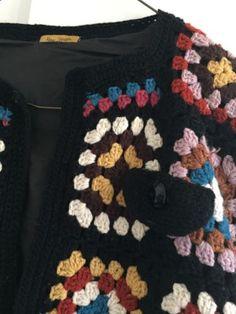 Peter Jensen Crochet 70s Vintage Style Size S Granny Square Blanket Jacket