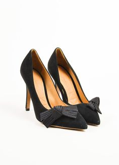 """Isabel Marant Black Suede Pointed Toe Folded Bow """"Poppy"""" Pumps"""