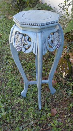 SOLD Tall Table Stand, Polygon Stand,  Plant Stand, Entry Table Stand, Vase Stand, Annie Sloan Provence with Graphite Glaze by RightUpMyAlleyDesign on Etsy