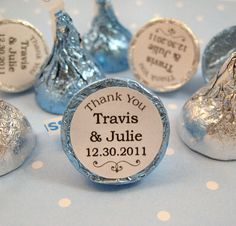 Thank You Wedding Personalized Hersheys Kisses Stickers Labels Kiss Favors via Etsy