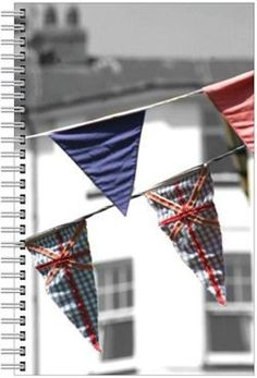 Lined notebook with a colour photograph of street bunting in Dartmouth by MrTeaPhotography, £15.00