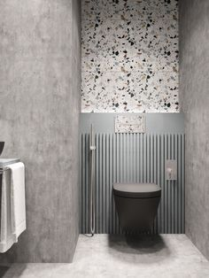 This terrazzo and concrete bathroom designed by Nika Buzko is wild! I just love how the colored speckles of the terrazzo tiles add character in this small space. Quite frankly, I am very intrigued to Restroom Design, Bathroom Interior Design, Modern Interior Design, Minimalist Bathroom Design, Modern Bathroom, Neutral Bathroom, Contemporary Bathrooms, Modern Minimalist, Navy Bathroom