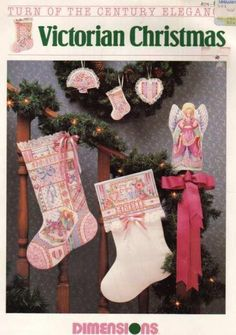 Victorian Christmas (Turn Of The Century Elegance (Cross Stitch)) Cross Stitch Christmas Stockings, Cross Stitch Stocking, Christmas Cross, Christmas Charts, Pink Christmas Ornaments, Cross Stitch Embroidery, Cross Stitch Patterns, Cross Stitches, Mini Stockings