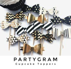 Gold, Black & White 3D Bow Cupcake Toppers | Set of 12 | ships in 1-3 business days | Kate Spade Inspired | PartyGram