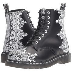 Dr. Martens Pascal Lace 8-Eye Boot (Black Smooth) Women's Lace-up... ($155) ❤ liked on Polyvore featuring shoes, boots, lace front boots, front lace up boots, rugged boots, lace boots and black lace-up boots