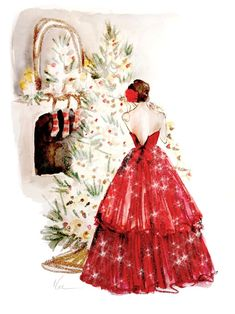 illustration by Katie Rodgers of Paper Fashion Christmas Paper, Vintage Christmas Cards, Christmas Pictures, Christmas And New Year, Christmas Time, Merry Christmas, Elegant Christmas, Christmas Scenes, Christmas Christmas