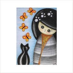 Maneki Neko Cat Art Card, Japanese Kokeshi Doll and Black Cat ATC, Artist Trading Card, Original ACEO, Cat and Butterfly Miniature Art Card by deejavuart on Etsy https://www.etsy.com/uk/listing/570476524/maneki-neko-cat-art-card-japanese