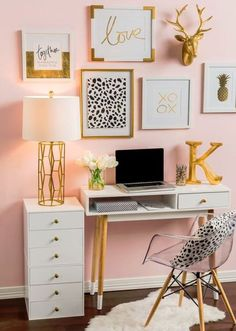silver and gold bedroom. purple and gold bedroom ideas. black and gold room gold room decor black red and gold bedroom ideas gold themed bedroom. White Desk Office, Small Office, Office Spaces, Work Spaces, Office Den, Apartment Office, Office Nook, Black Office, Office Setup