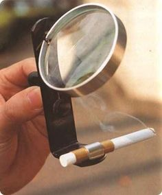 For when you forgot your lighter but remembered your magnifying glass and stand: | 19 Awesomely Impractical Japanese Inventions - aka Chindōgu