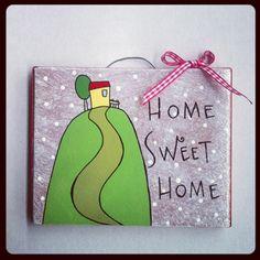 home sweet home. Mattonella di recupero illustrata HandMade