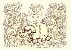 In the jungle. Un pequeño esbozo Curtains, Shower, Bathroom, Prints, Sketching, Rain Shower Heads, Washroom, Blinds, Bath Room