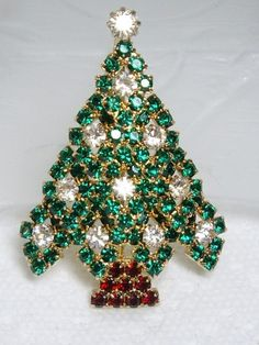 Superb RARE Eisenberg Ice Red Green Rhinestone Christmas Tree Pin Brooch | eBay