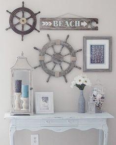 52 DIY Ideas & Tutorials for Nautical Home Decoration. 52 DIY Ideas and Tutorials for Nautical Home Decoration. Nautical Bedroom, Coastal Bedrooms, Bedroom Beach, Trendy Bedroom, Bedroom Wall, Beach Cottage Style, Beach House Decor, Beach Houses, Beach Cottages