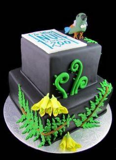 Two tiered native flora and bird cake - by Eat Cake (Auckland). Kiwi Cake, Bird Cakes, Maori Art, Cake Business, Edible Art, Celebration Cakes, Auckland, Cake Art, Fern