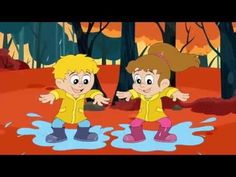 Kids song about autumn: The leaves from the trees, fly all around, raindrops keeps on falling on the ground, it's autumn and I feel fine. LYRICS AUTUMN: T. Music For Kids, Kids Songs, Autumn Activities, Nursery Rhymes, Flamingo, Musicals, Cartoon, Children, Fall