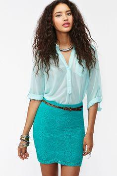 """Jillian Crochet Skirt - Teal""  Nasty Gall, $17.40"