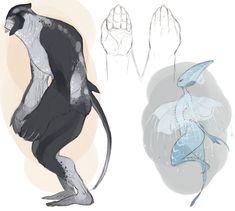 Fish people designs: Shark/ray + Jellyfish by Chopstuff