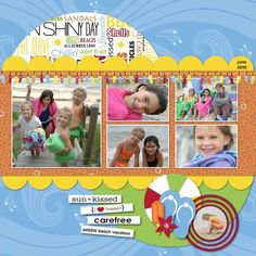 Click & Fill V Cheerful Summer Digital Additions Scrapbook Layout Page Idea