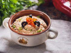 Humus reţetă cu ardei copt si masline negre Tahini, Cheeseburger Chowder, Humus, Oatmeal, Healthy Recipes, Cooking, Breakfast, The Oatmeal, Kitchen