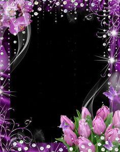 Цветочная рамка для фото - Лиловые орхидеи и тюльпаны
