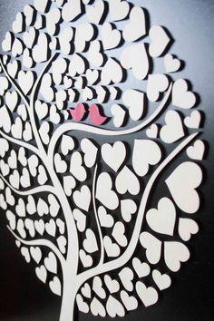 Custom wedding guest book alternative - 3D Wedding Tree guest book - wood rustic wedding guest book - Tree of Hearts - CUTIE POP 110 hearts by TotallySalinda on Etsy https://www.etsy.com/listing/152010592/custom-wedding-guest-book-alternative-3d