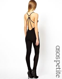 ASOS PETITE Exclusive Unitard with Mesh Panel Sides and Ring Back Detail