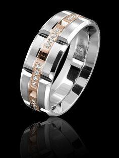 Carlex diamond luxury rose and white gold ring for men. WB-9320RW-S. www.Gembycarati.com www.facebook.com/gembycarati