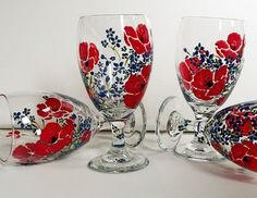 Hand Painted Poppies & Forget-Me-Not Flower Ice Tea Goblets (set of 2). $35 Via Etsy - Sets of 4 and Matching Pitchers also Available