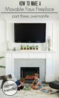 How to build a renter friendly over-mantle that can accommodate a large TV mount. Part three of a movable faux fireplace tutorial. Tv Mount Over Fireplace, Fireplace Tv Wall, Build A Fireplace, Small Fireplace, Fireplace Inserts, Fireplace Mantle, Fireplace Ideas, Tv Mantle