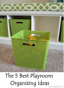 Using baskets keeps your space looking clean with very little effort and  maintenance.   5 best playroom organizing ideas.