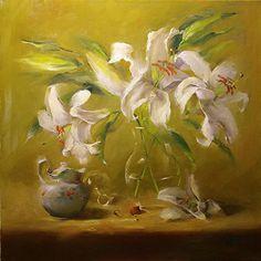 Lily Waltz by Lori Twiggs Oil ~ 18 x 18