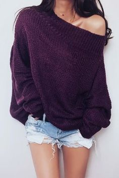 $34.99 Get ready for Fall fashion! Find fashionable outfits for the new season.-CHICNICO Stylish Off Shoulder Solid Color Long Sleeve Sweater