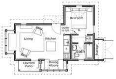 Backyard Cottage - 449 sq ft - photos : Small Homes by Ross Chapin Architects --- needs a fireplace, but love the floorplan. Small Tiny House, Small House Design, Tiny House Living, Small House Plans, House Floor Plans, Small Homes, Container House Plans, Container Homes, Container Design