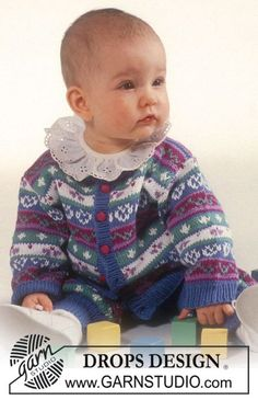 Lovelia - Drops Fair Isle jacket and pants in Safran. - Free pattern by DROPS Design Baby Knitting Patterns, Baby Sweater Knitting Pattern, Crochet Cardigan Pattern, Knitting For Kids, Sewing For Kids, Baby Patterns, Free Knitting, Cardigan Bebe, Drops Baby