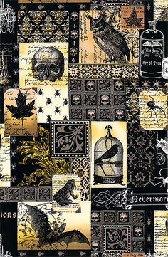 Michael Miller Nevermore Collection Nevermore Collage Urban Grit Black This is my favorite Halloween pattern, so many design choices- Magnificent Steampunk Halloween, Gothic Steampunk, Halloween Skull, Fall Halloween, Halloween Fabric Crafts, Halloween Tags, Halloween Parties, Halloween Ideas, Halloween Quilts