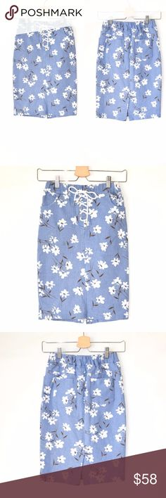 NWT MAAC High Waist Denim Skirt New with tag MAAC London  High waist denim skirt Elasticized waist Floral Printed Cotton Stretch denim Machine wash No care label No size tag Size S(would fit xs, s) MAAC Skirts Midi