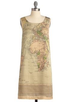 Cartography Degree Dress. Make others 'magell-ous' with your exacting approach to elegance by charting a chic ensemble that pairs this worldly dress with a wood-soled wedge, a bounty of golden bangles, pearly earrings, and a bronze, beaded fascinator! #tan #modcloth