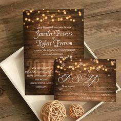 cheap rustic wooden string light mason jar fall wedding invites EWI395 as low as $0.94 |
