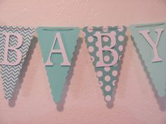 Baby Shower Banner, Baby Shower Decorations, Aqua, Teal, Turquoise, White on Etsy, $26.00