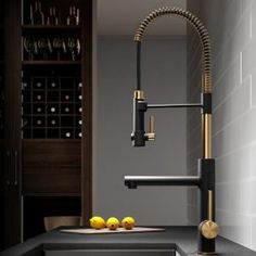 KRAUS Artec Pro™ Commercial Style Pre-Rinse Kitchen Faucet with Pull-Down Spring Spout and Pot Filler, Brushed Gold/Matte Black Finish Semarang, Kitchen Styling, Kitchen Decor, Kitchen Interior, Buy Kitchen, Kitchen Ideas, Hidden Kitchen, Smart Kitchen, Awesome Kitchen