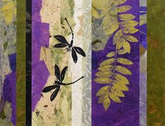 Original Dragonfly Abstract Nature Painting, Mixed-Media Contemporary 11x14…