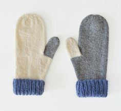 Hand knit mittens in grey and cream and wool (cream is recycled), and super soft purple alpaca yarn. Keep your hands warm so you can go outside Knit Mittens, Knitted Gloves, Wrist Warmers, Hand Warmers, Hand Knitting, Knitting Patterns, How To Purl Knit, Knitting Accessories, Yarn Crafts