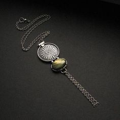 Solar Time - silver one of a kind pendant with labradorite - available