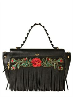 MOSCHINO - BABE FRINGES EMBROIDERED LEATHER BAG - LUISAVIAROMA - LUXURY SHOPPING WORLDWIDE SHIPPING - FLORENCE