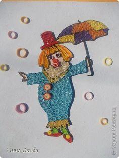 Картина панно рисунок Квиллинг Клоунесса  Бумажные полосы фото 2