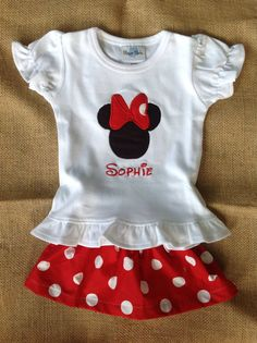 Minnie Mouse Tee and Skirt -Personalized - Boutique Style - Shirt or Onesie - Infant Toddler - Birthday - Disney - Minnie Outfit