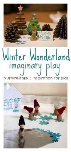 A Winter Wonderland play scene children can make for winter imaginary play | NurtureStore :: inspiration for kids