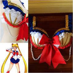 Sailor Moon Bra by EatSleepRaveBras. This could be for a Halloween costume with a blue mini skirt and pink boots just like sailor moon.